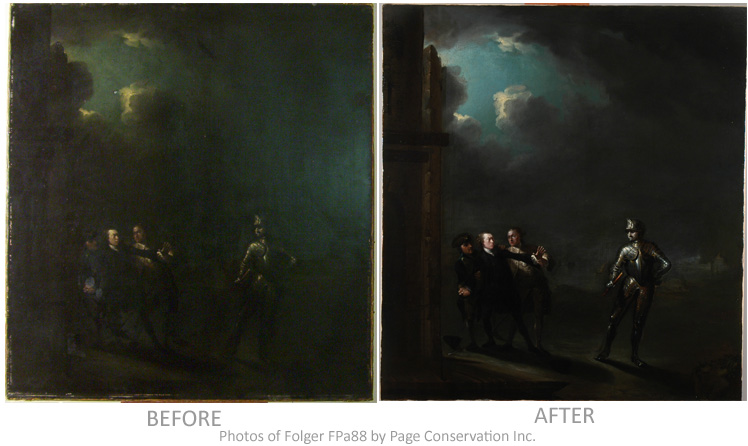 """Folger FPa88 """"before"""" and """"after"""" conservation photographs"""