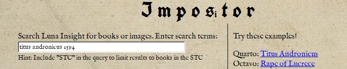Searching Impos[i]tor for the 1594 Titus