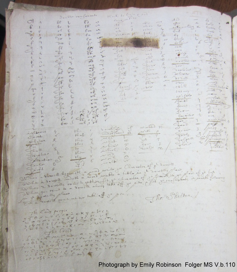Shelton's shorthand in Oxenden's miscellany