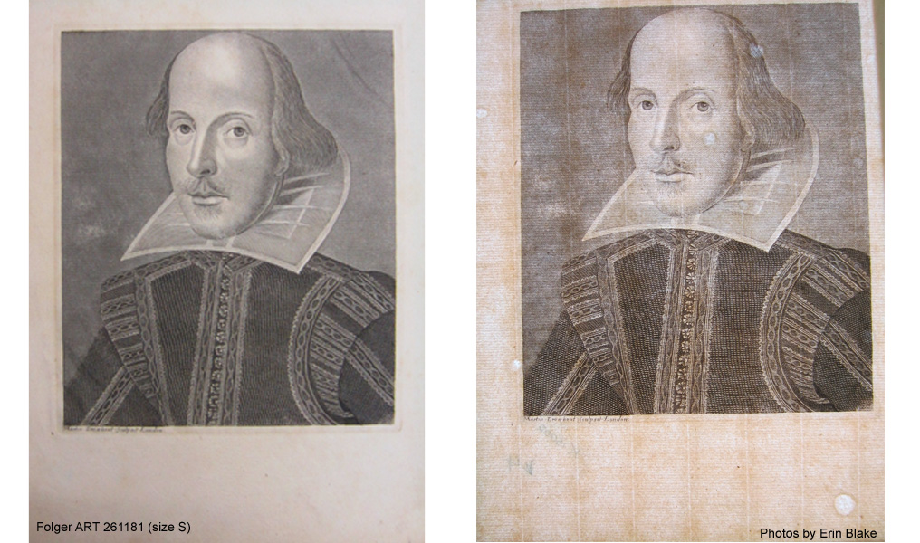 Facsimile of the Droeshout portrait printed on antique laid paper