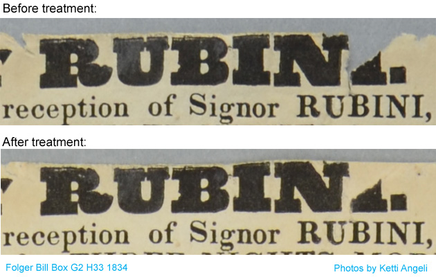 Detail of top of playbill before and after in-filling showing that the missing lettering has not been painted in.