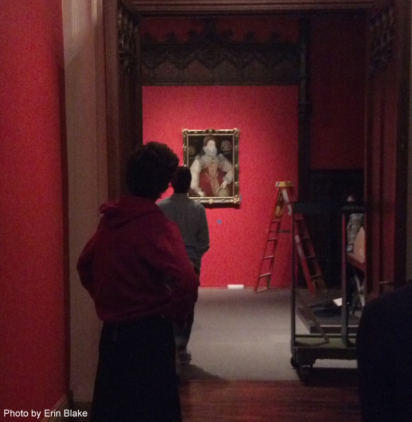 Looking at the painting from a distance