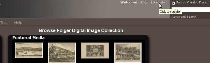 register for a free Folger digital image database account