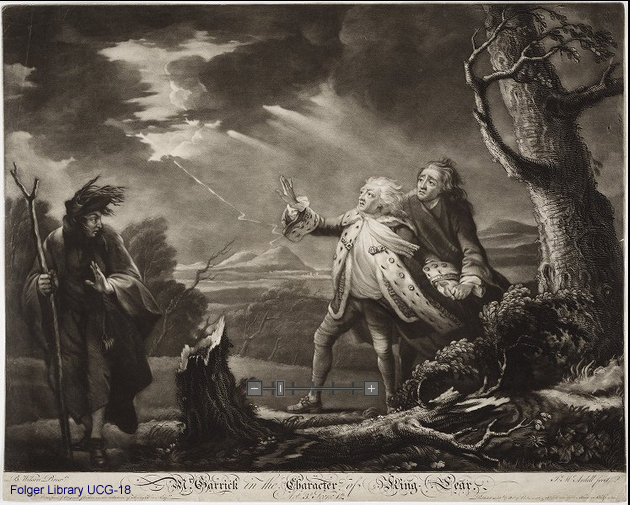 "Engraving of David Garrick as King Lear, the ""Storm"" scene"