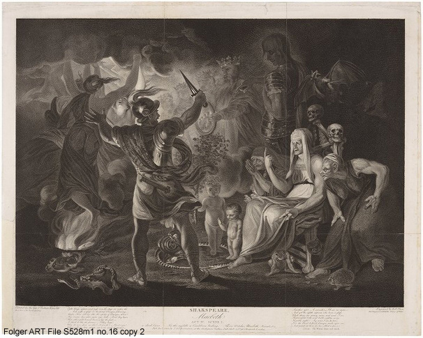 "Engraving of the ""cauldron scene"" from Shakespeare's Macbeth"