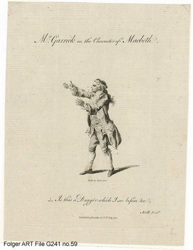 Engraving of David Garrick in costume, full length, gesturing dramatically