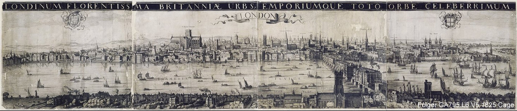 Engraving depicting London ca. 1600 looking north across the Thames