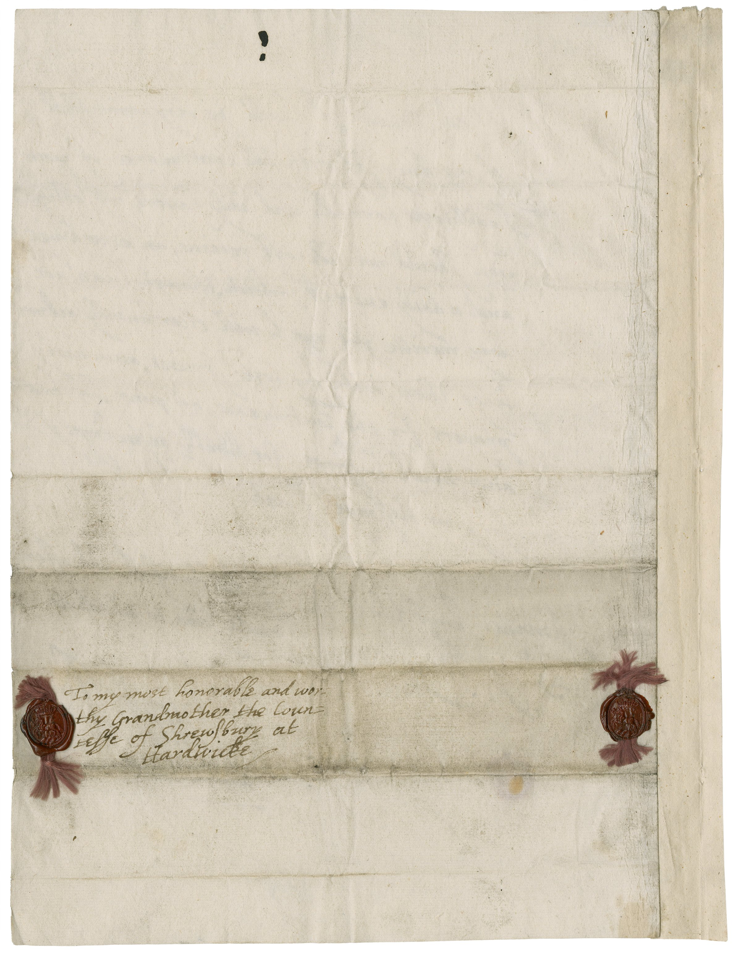 Address leaf of letter from Thomas Howard, earl of Arundel to Elizabeth Talbot, countess of Shrewsbury, May 25, 1607. Folger MS X.d.428 (1).