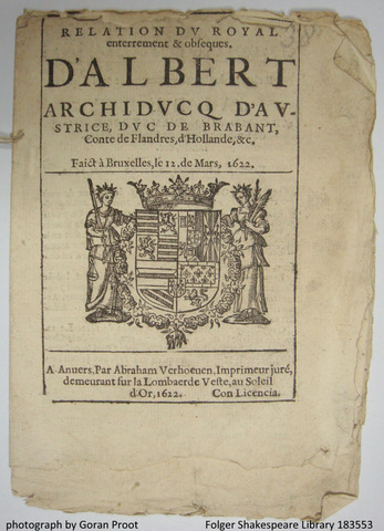 Woodcut depicting the coat of arms of the archdukes Albrecht and Isabella (fol. A1r)