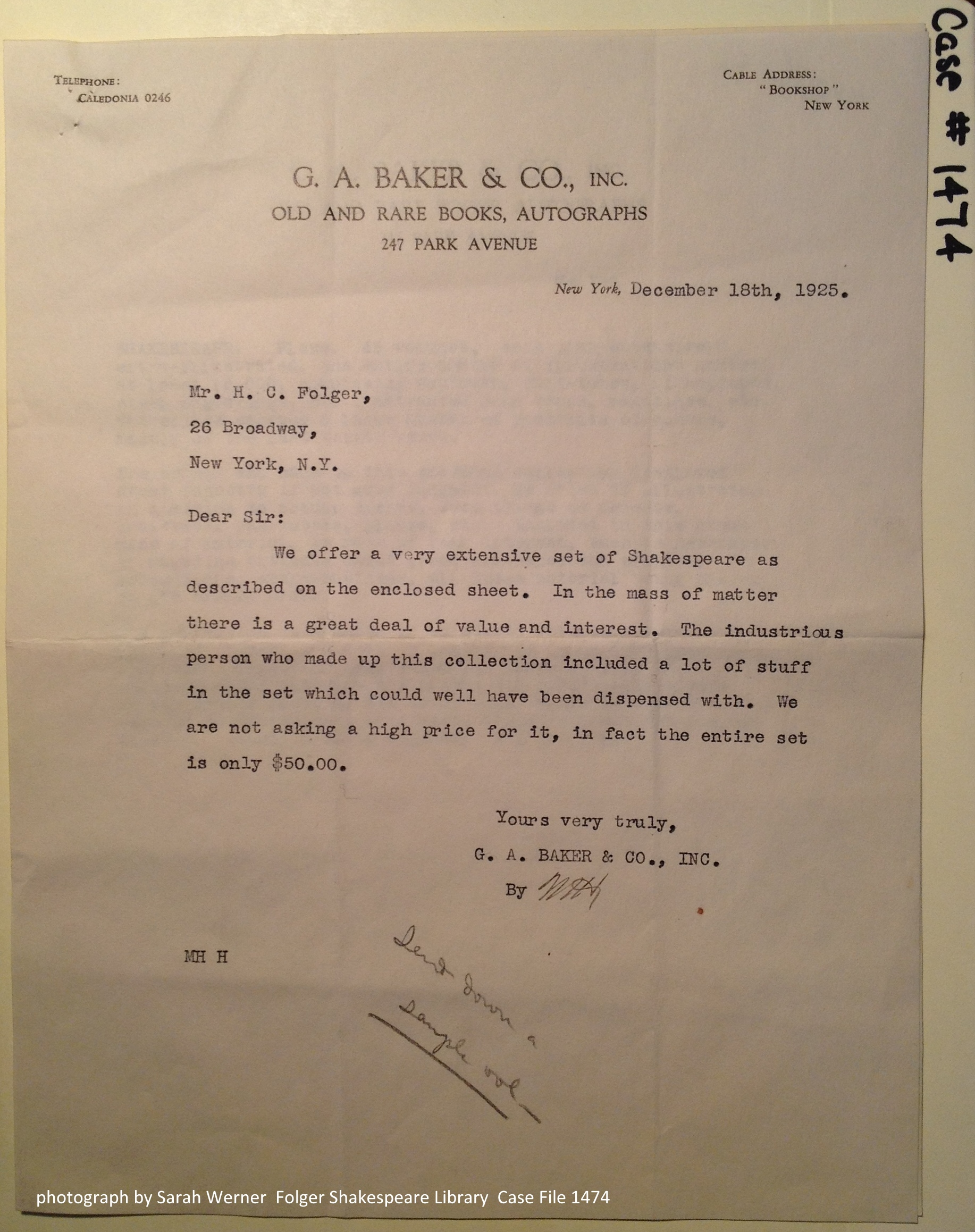 The dealer's letter to Mr Folger offering the collection of scrapbooks.