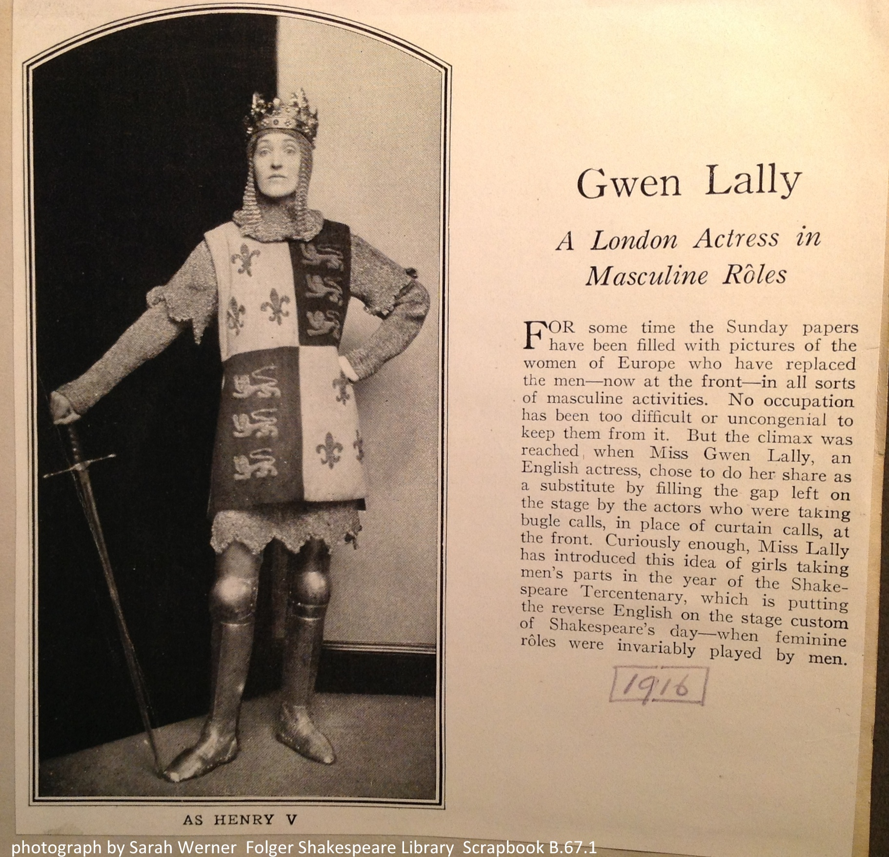 """Gwen Lally: A London Actress in Masculine Roles"""