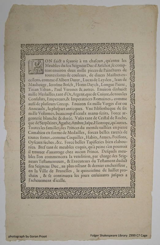 broadside advertising a 1617 auction