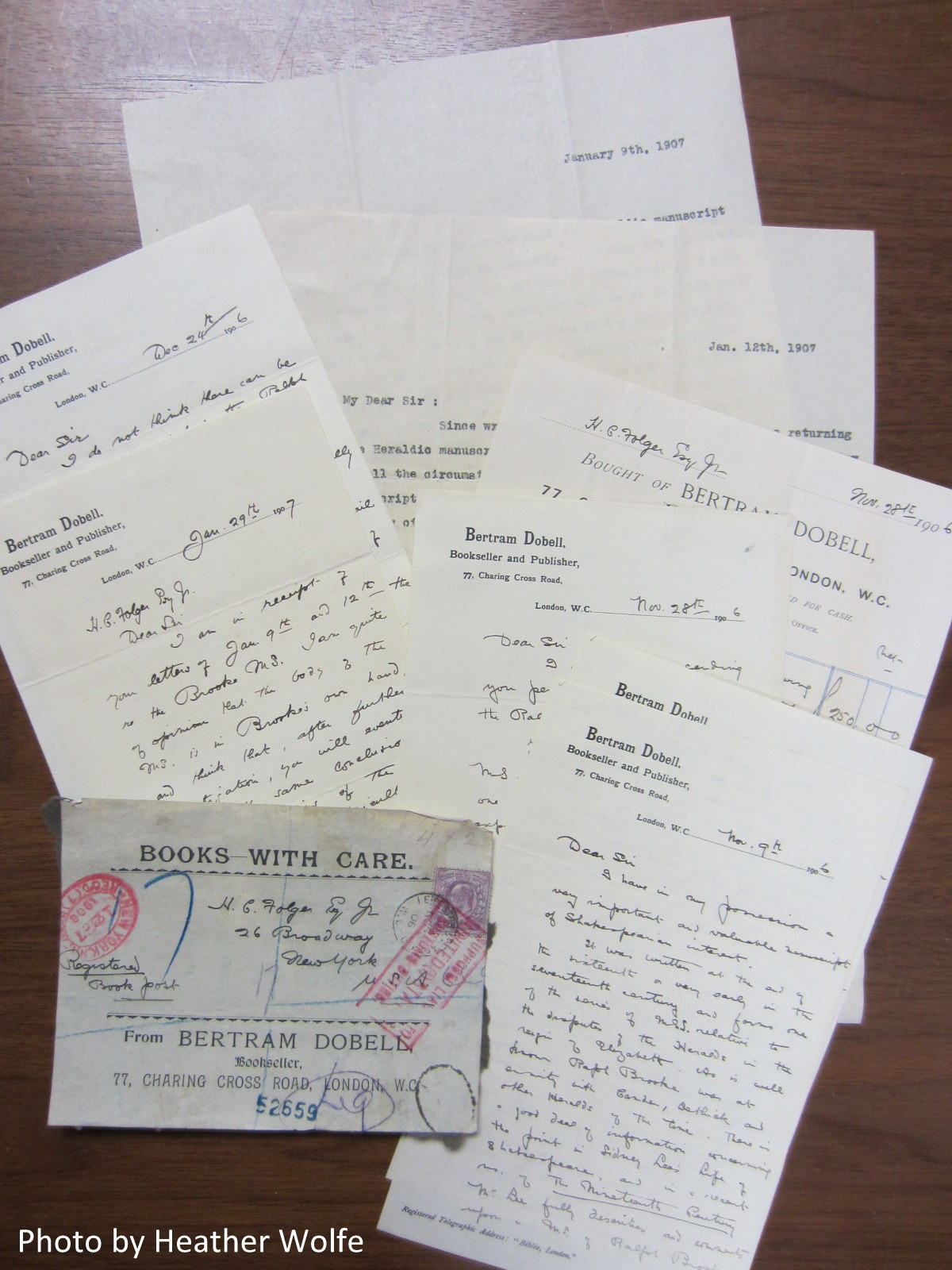 Correspondence between Bertram Dobell and Mr. Folger, November 9, 1906 to January 29, 1907.