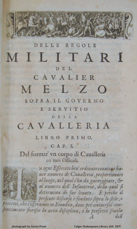 Beginning of Melzo's military treaty on the cavalry (sig. A1r)