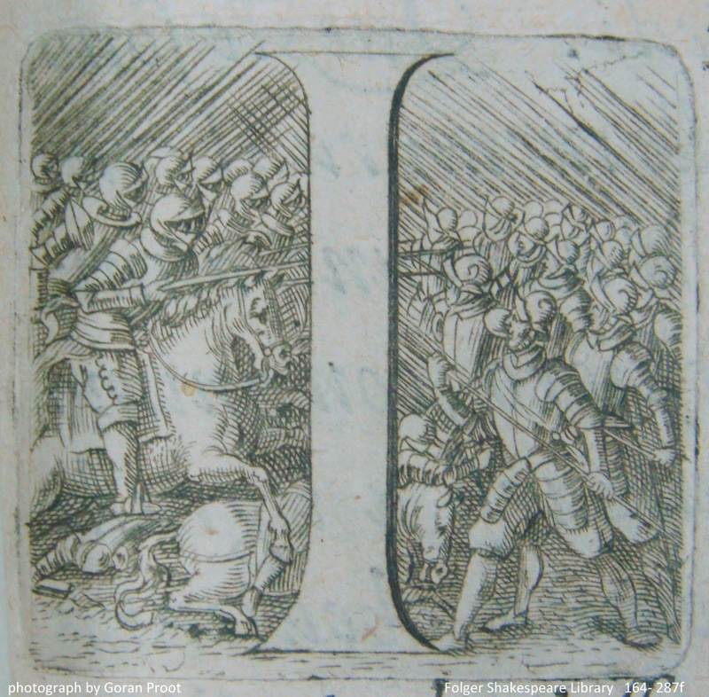 Engraved initial depicting a battle scene (sig. A1r detail)