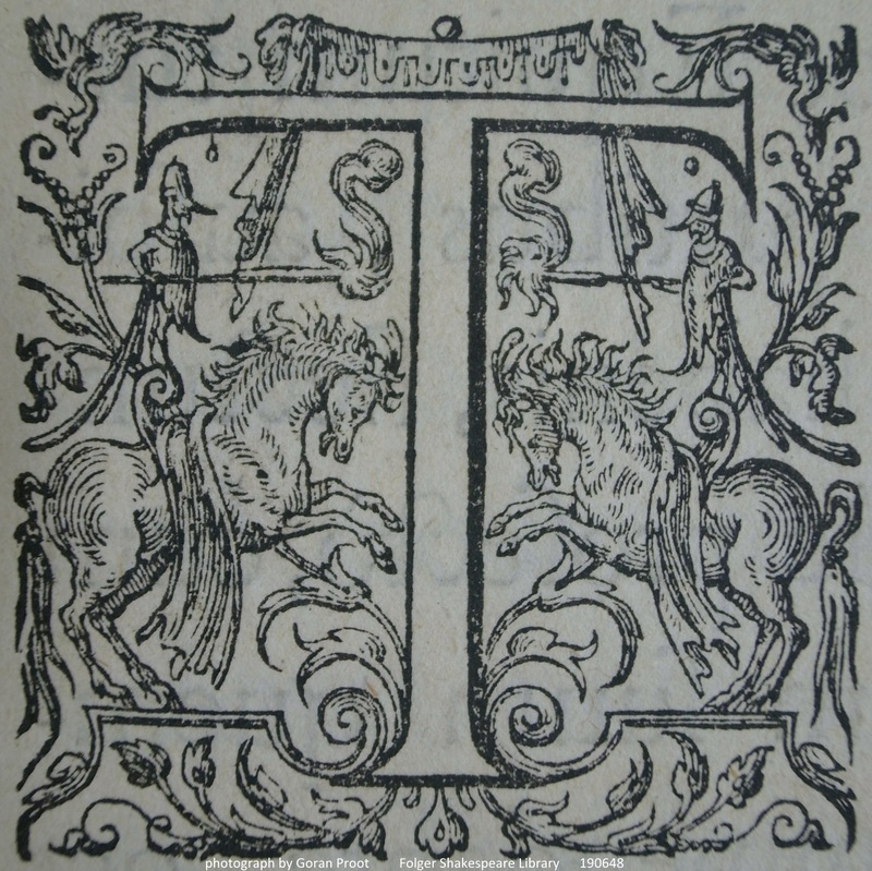 Detail showing the ornamental initial T (sig. *2r)