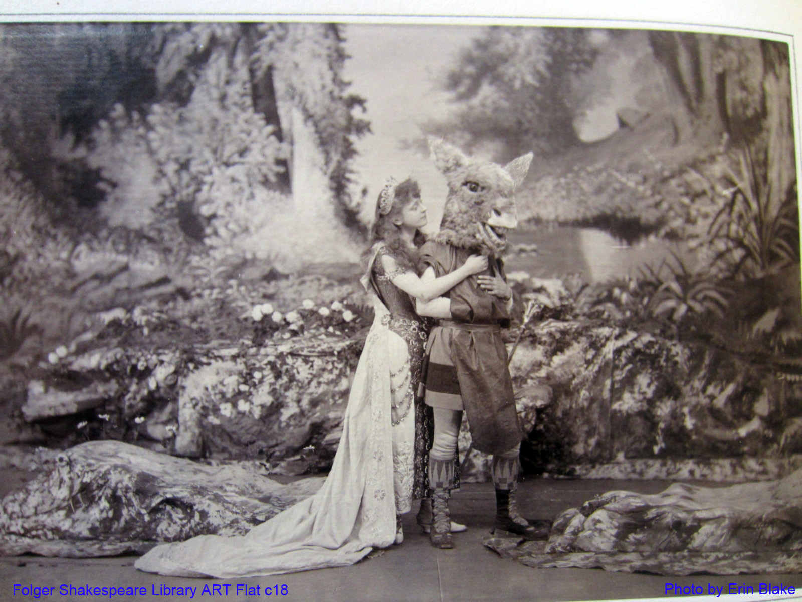 Miss Effie Shannon as Titania and Mr. James Lewis as Bottom in Augustin Daly's 1888 production of A Midsummer NIght's Dream