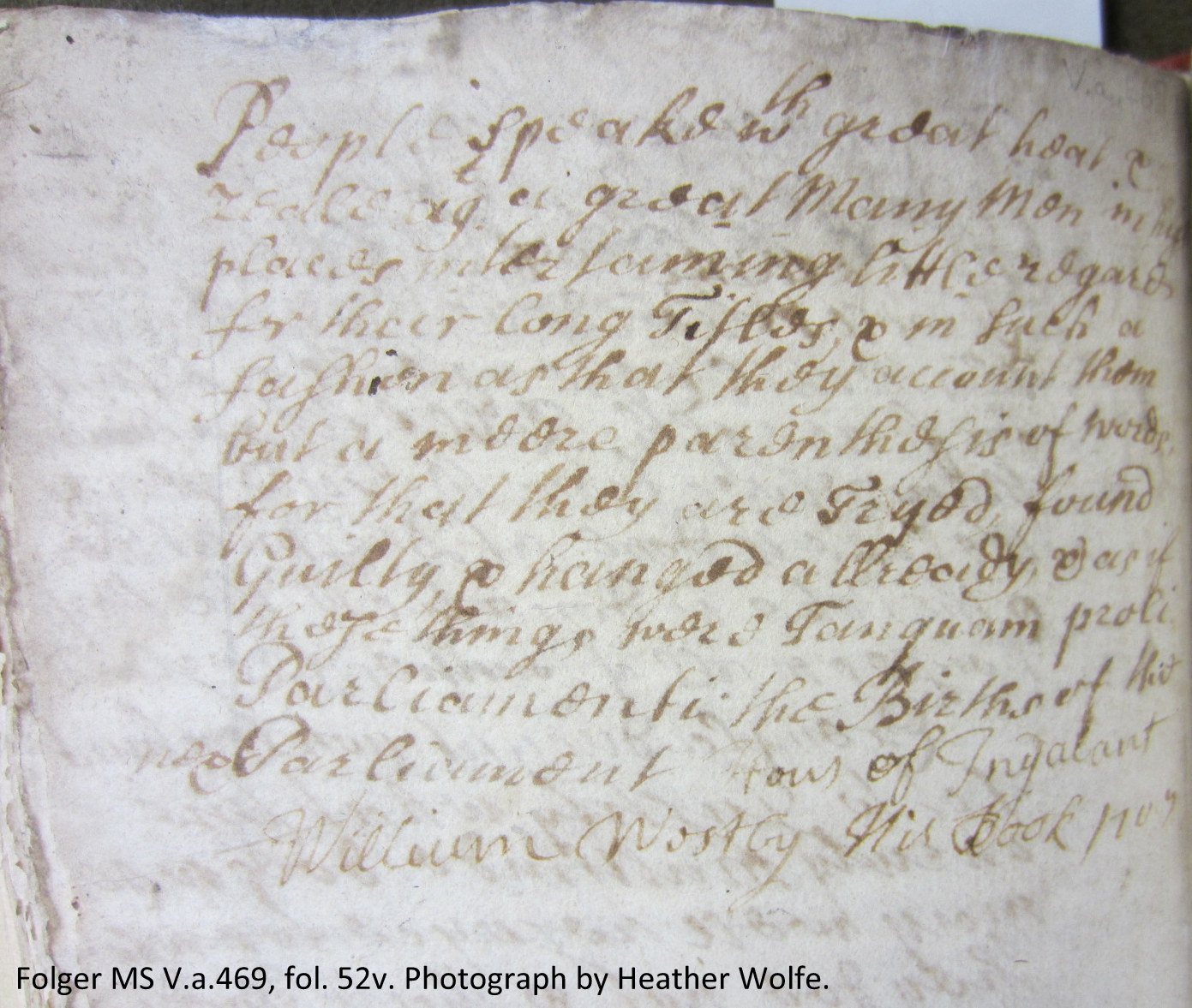 Last page of diary with William Westby's ownership inscription.