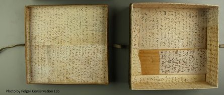 Lid and bottom of a square box; interior completely lined with manuscript notes except for a small gap (loss?) near one bottom corner