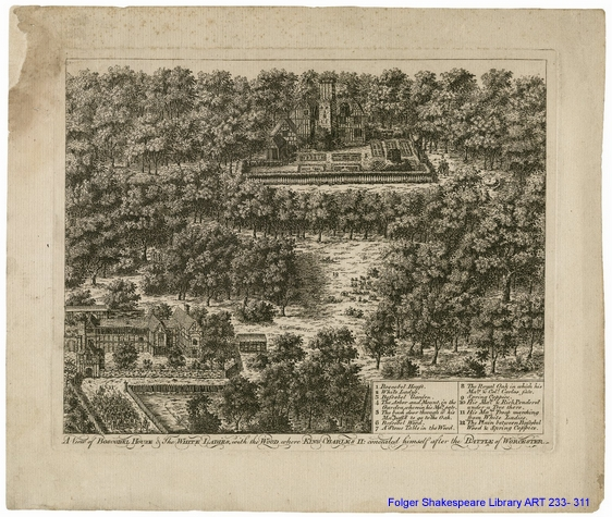 Engraving of a forested scene.