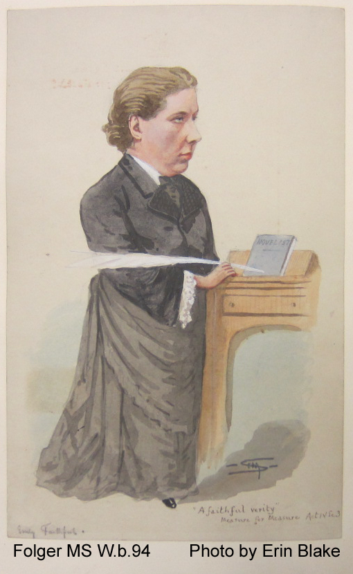 Sympathetic caricature of a middle-aged woman
