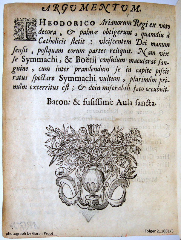 Incomplete copy of the theatre program Symmachus et Boëtius tragœdia exhibebitur [...] Gandavi 6. septembris 1695, Gandavi: typis Henrici Saetreuver, 1695, here fol. A3 verso.