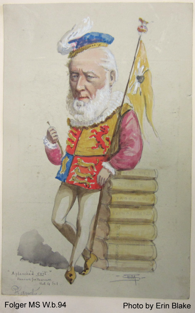 Sympathetic caricature of an elderly man dressed as a Herald