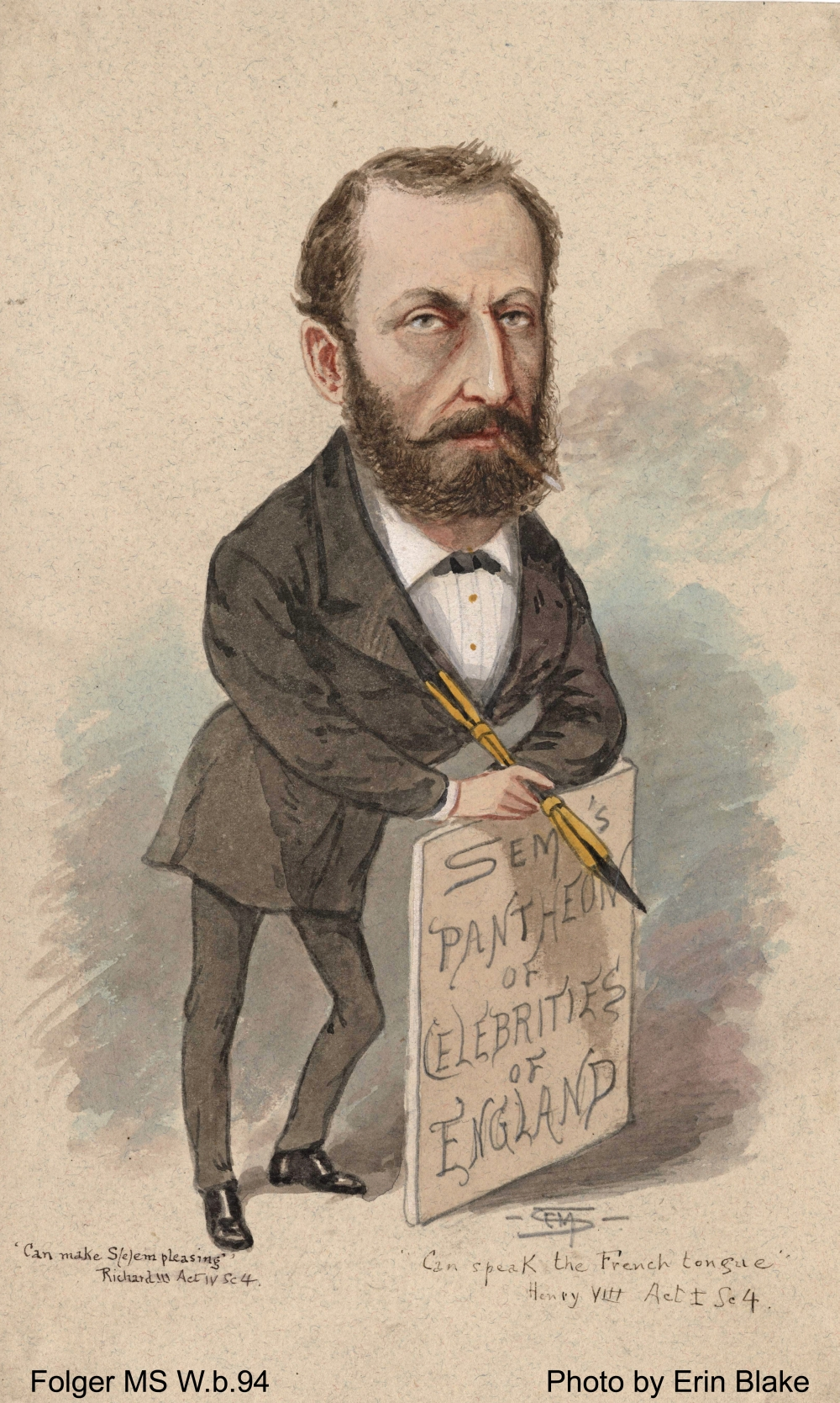 Sympathetic caricature of a bearded man, smoking, holding an oversize artist's pencil