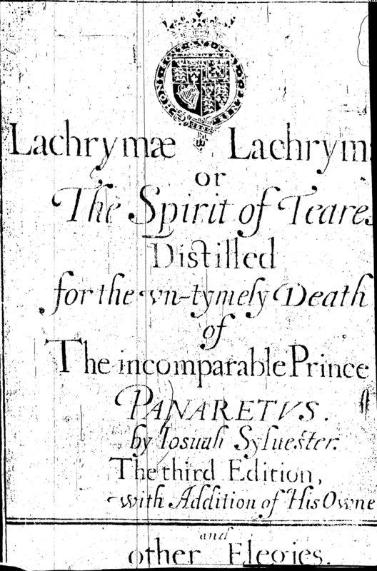 The title page to Lachrymae Lachrumarum, as seen in EEBO