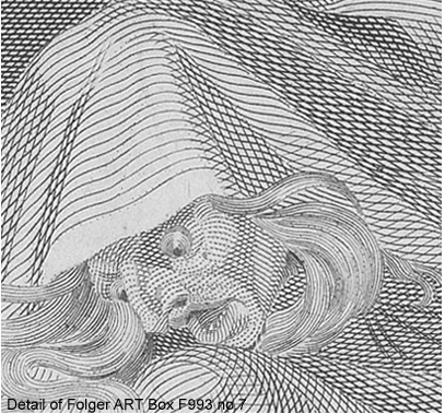 Witch's face and cloak engraved with relatively few lines