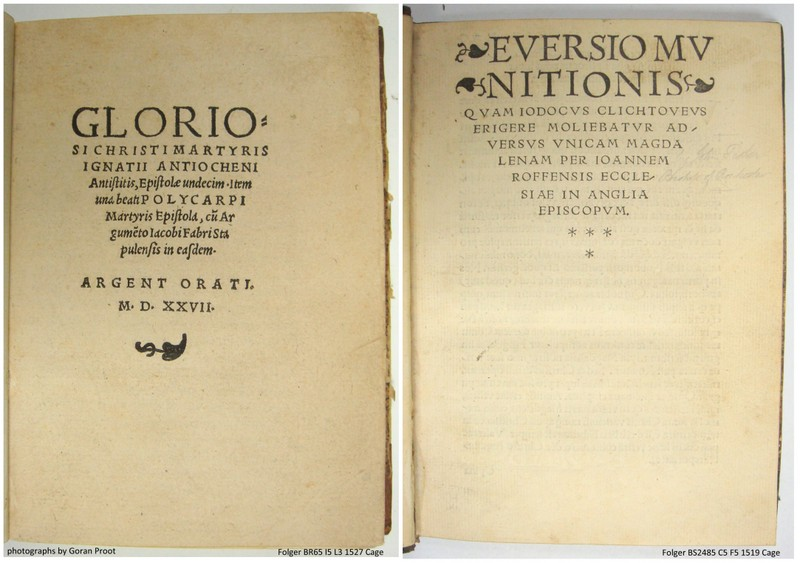 Title page (fol. A1r) of a 1527 Strassburg edition featuring one single vine leaf (left), and title page (fol. a1r) of a 1519 Louvain edition with three single vine leaves (right).