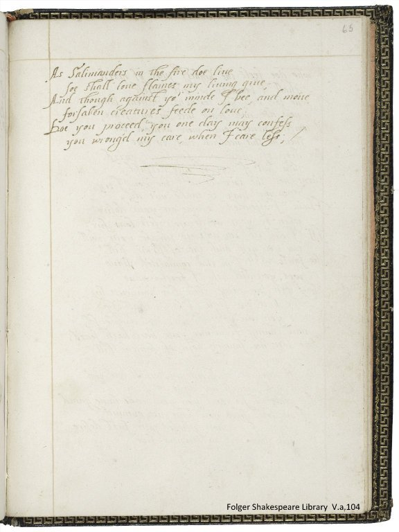 Mary Wroth's Pamphilia to Amphilanthus (fol. 65r)