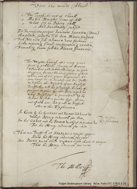 "Final leaf of Milles' treatise, ""A marginall Note upon the worde (Almost)..."