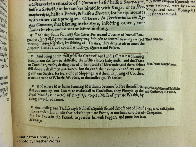 Tipped-in printed supplement to the Huntington Library's copy of STC 17934, and (below) the leaf beneath it.