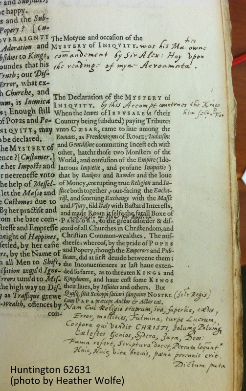Two typical marginal additions in Milles's An Out-Port-Customers Accompt (STC 17935), sig. O2r. The first one is printed on the leaf, and then extended in manuscript by the author. The second one is a printed slip pasted to the margin, with interlineal manuscript insertions and manuscript verse in Latin at the end that extends off the slip, in the hand of the author.