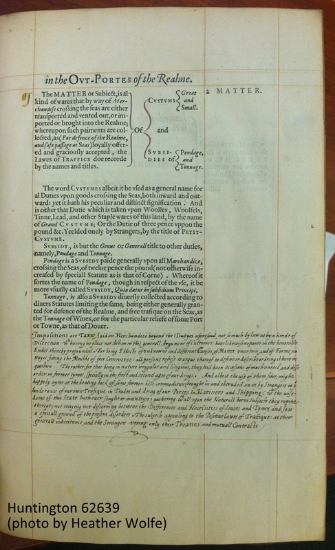 The Customers Apology, sig. B3r, with gold, red, and black ink. All known copies of this work are signed and dated by the author, and were meant to be circulated among members of the Privy Council. This copy belonged to Thomas Egerton.