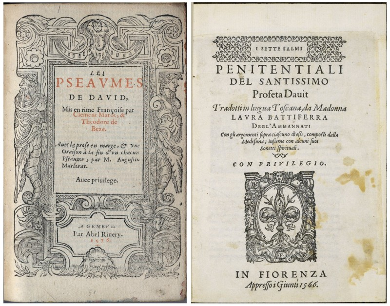 left: French psalter, 1576; right: Italian psalms, 1566