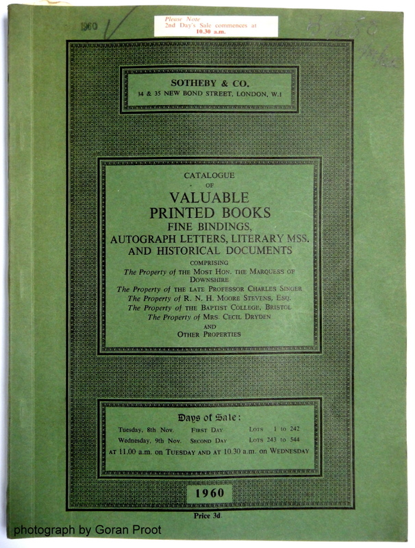 Title-page of the auction catalog for the sale of November 8-9, 1960