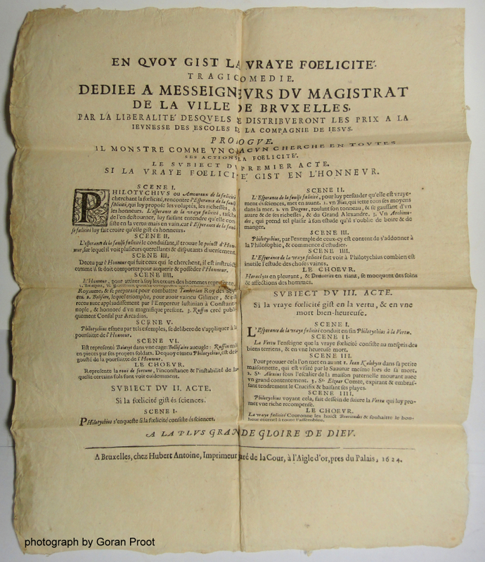 Broadside announcing the theater performance organized by the Brussels Jesuits in 1624 (Folger 183539)