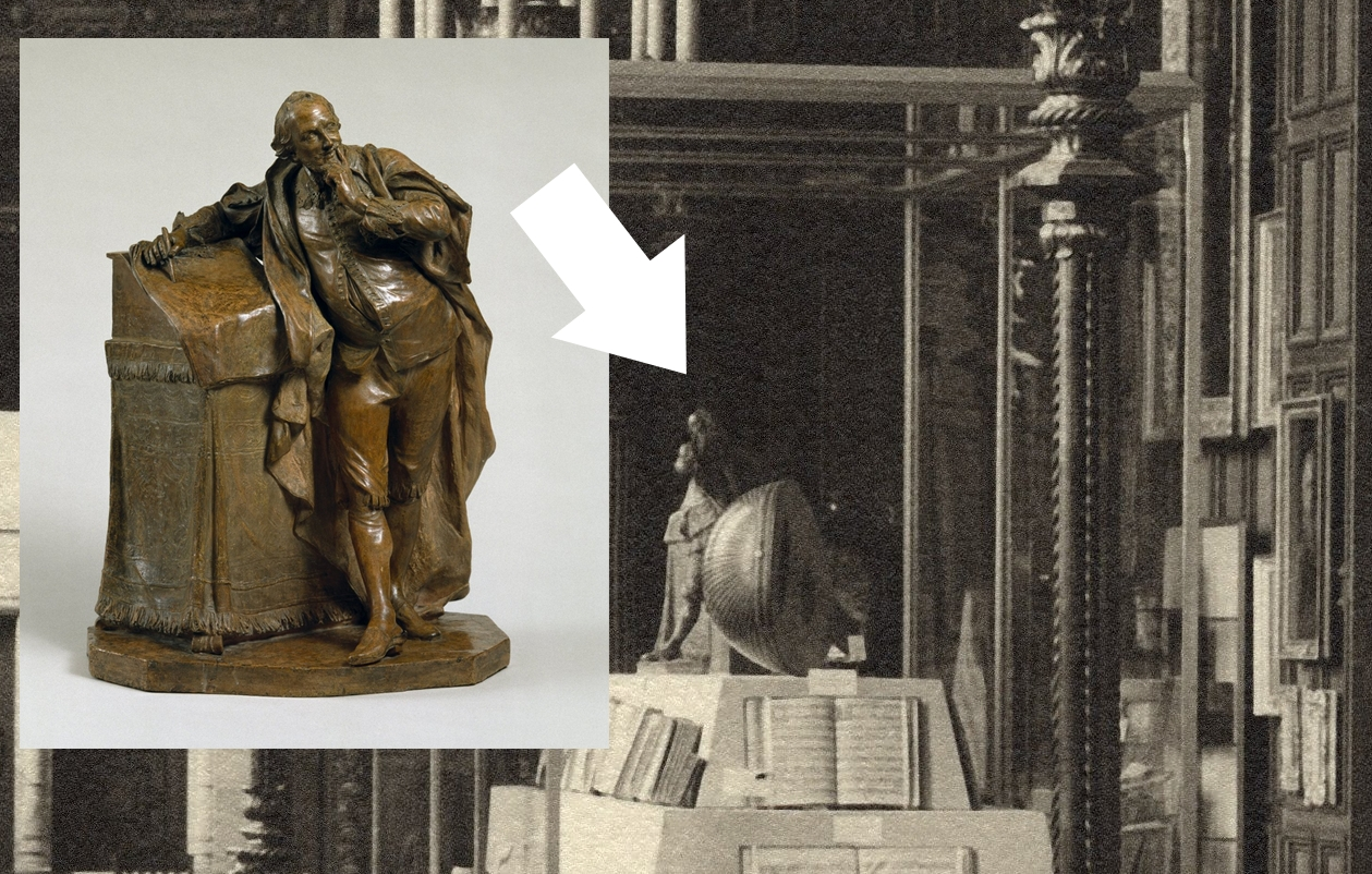 Statuette of Shakespeare leaning on a desk