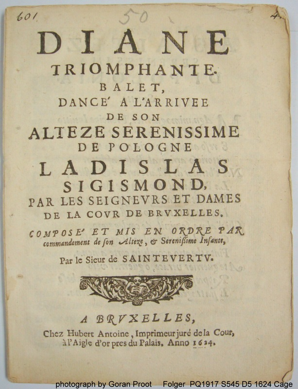 Title-page of the unique description of the oldest recorded ballet performance held in the Southern Netherlands, Diane triomphante, Brussels 9 september 1624