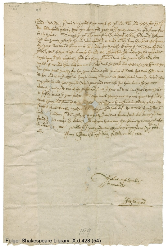 John Manners' letter to Bess of Hardwick
