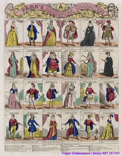 Brighly hand-colored print of 24 figures, in four rows