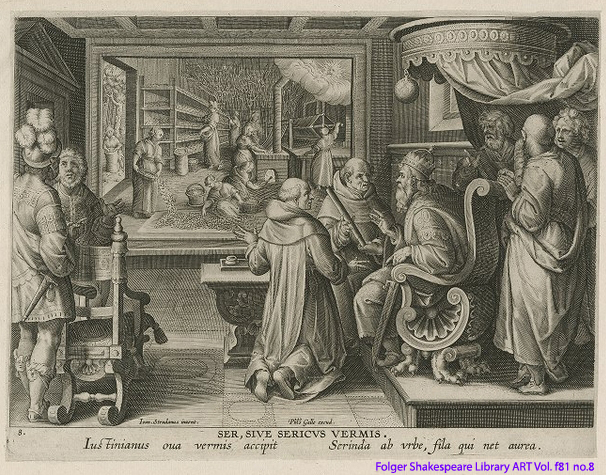 Print showing silkworms and silk making