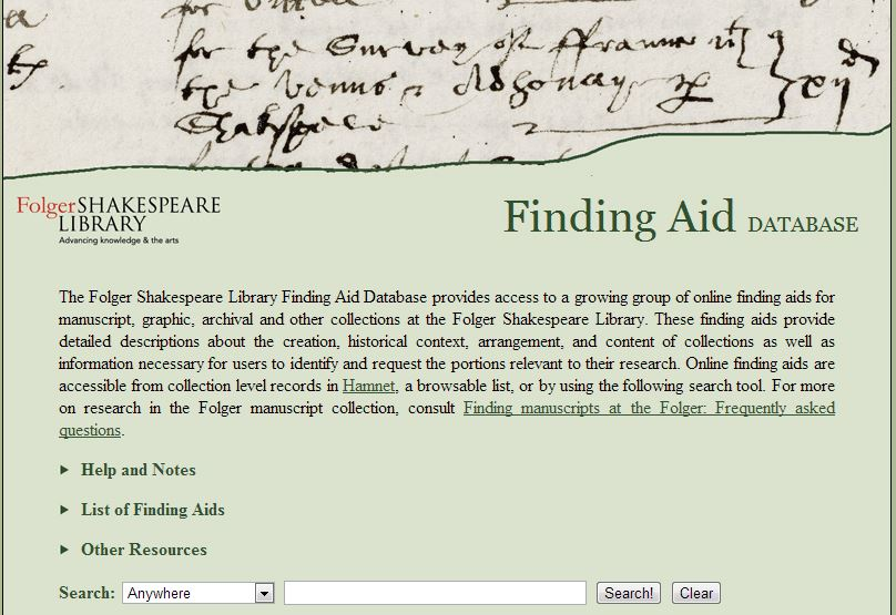 Folger Finding Aid Database