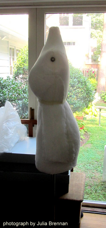 The dress form for Juliet gets a full figure in order to fill out and support the textile.