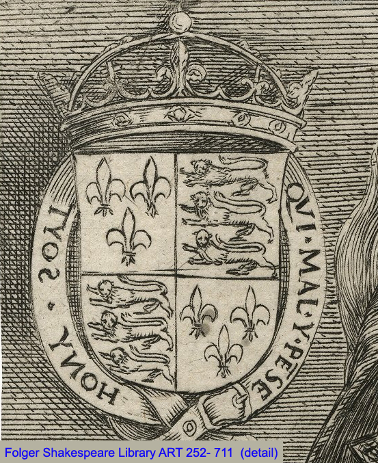 Coat of arms with 3 fleurs-de-lys in inverted pyramid and both sets of lions facing left