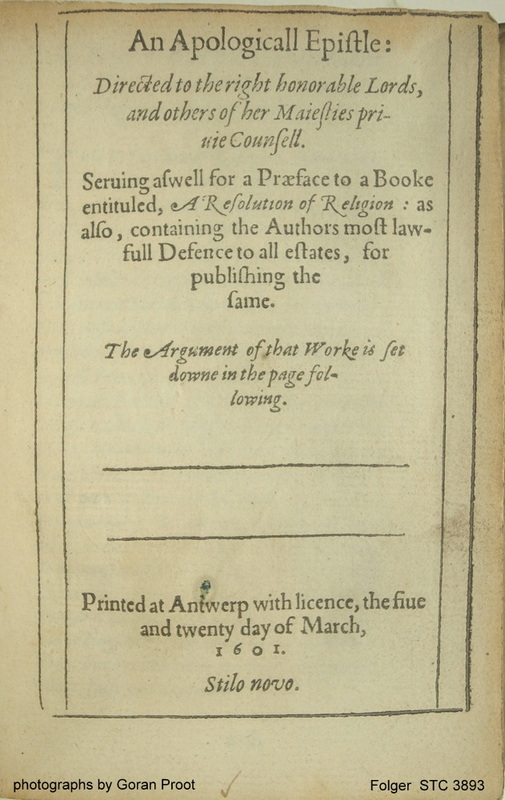 Title page (fol. a1r) of R. Broughton's An apologicall epistle, Antwerp 1601 (Folger Shakespeare Library STC 3893; STCV 12917691)