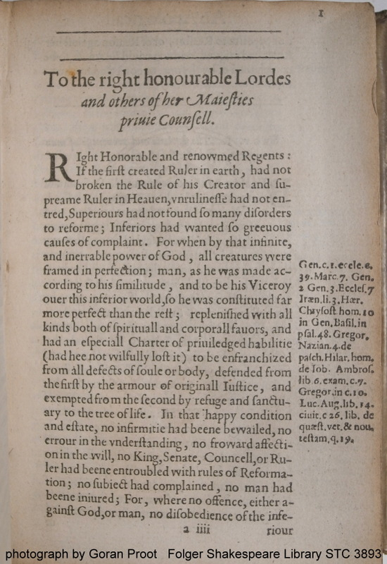 Fol. a4 recto of R. Broughton' An apologicall epistle, Antwerp 1601, showing a two horizontal, single lines at the head of the opening page of the dedication (Folger Shakespeare Library STC 3893)