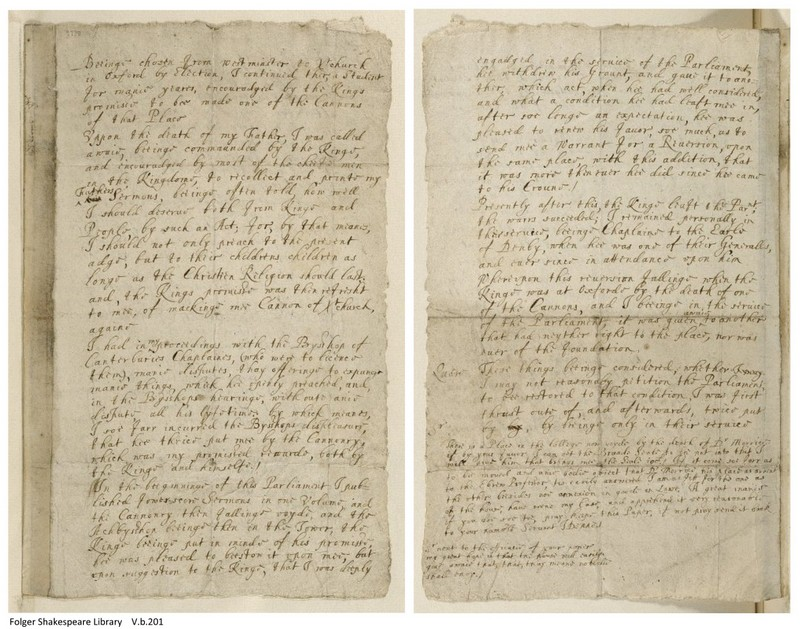 John Donne letter, recto and verso (V.b.201)